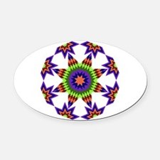 Star Burst Oval Car Magnet