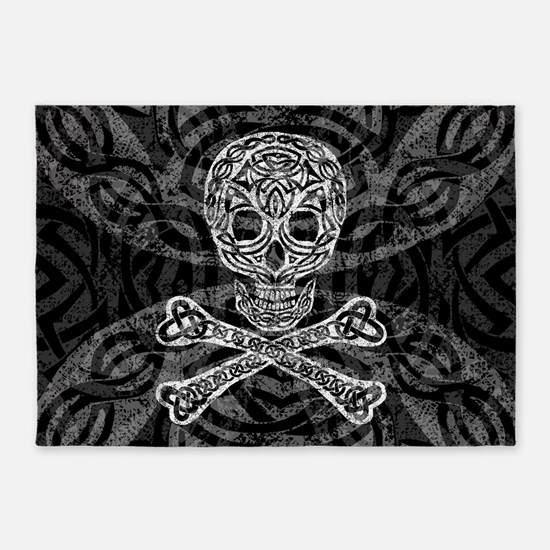 Celtic Skull and Crossbones 5'x7'Area Rug