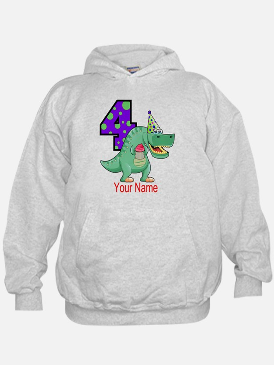 T-Rex 4th Birthday Custom Hoodie