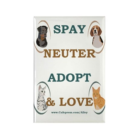 SPAY/NEUTER/ADOPT/LOVE Rectangle Magnet (100 pack)