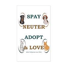 SPAY/NEUTER/ADOPT/LOVE Rectangle Decal