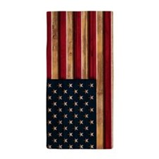 American Flag Vintage Wood Carved Beach Towel