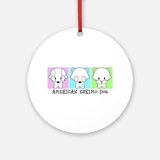 American Eskimo Dog Eskie Round Ornament