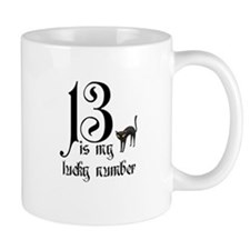 13 is my lucky number+cat Mugs