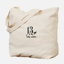 13 Is My Lucky Number+cat Tote Bag
