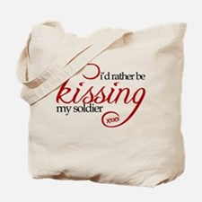 Kissing My Soldier Tote Bag
