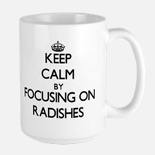 Keep Calm by focusing on Radishes Mugs