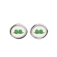 Two Peas Oval Cufflinks