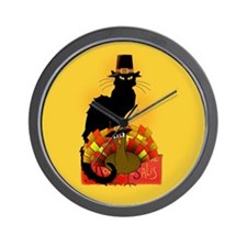 Thanksgiving Le Chat Noir With Turkey P Wall Clock