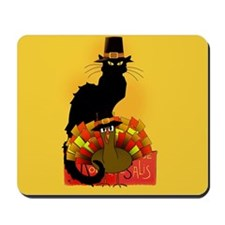 Thanksgiving Le Chat Noir With Turkey Pi Mousepad