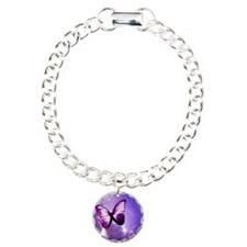 purple butterfly Charm Bracelet, One Charm
