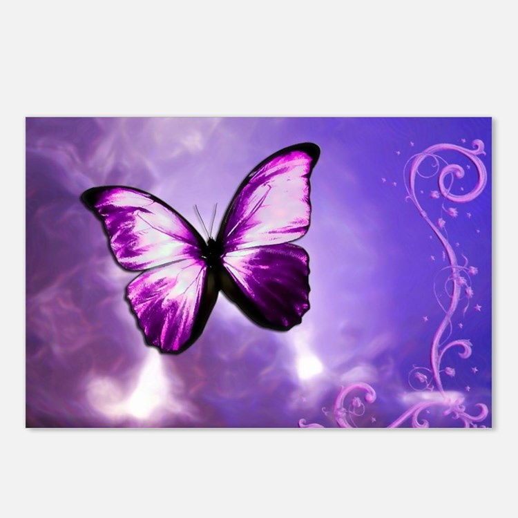 purple butterfly Postcards (Package of 8)