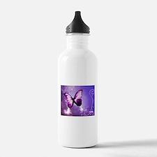 purple butterfly Sports Water Bottle