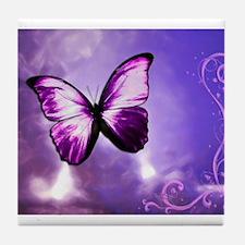 purple butterfly Tile Coaster
