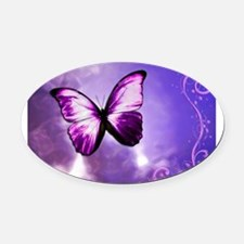 purple butterfly Oval Car Magnet
