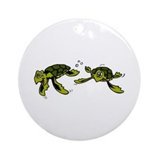 Baby Sea Turtles Swimming Ornament (Round)