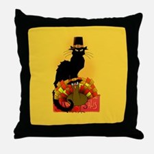 Thanksgiving Le Chat Noir With Turkey Throw Pillow