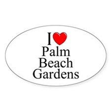 """I Love Palm Beach Gardens"" Oval Decal"