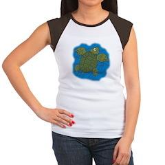 Cute Swimming Sea Turtle Women's Cap Sleeve T-Shir