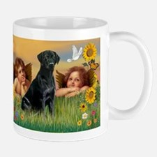 Cherubs and Black Labrador Mug