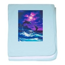 dolphins jumping baby blanket
