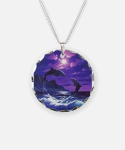 dolphins jumping Necklace Circle Charm