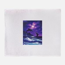dolphins jumping Throw Blanket