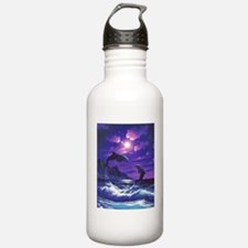 dolphins jumping Water Bottle