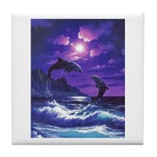 dolphins jumping Tile Coaster