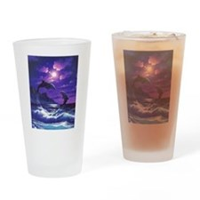 dolphins jumping Drinking Glass