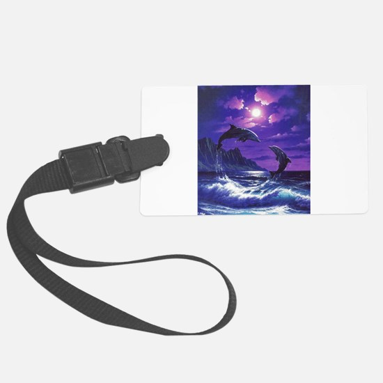 dolphins jumping Luggage Tag