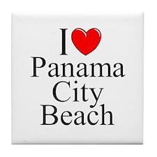 """I Love Panama City Beach"" Tile Coaster"