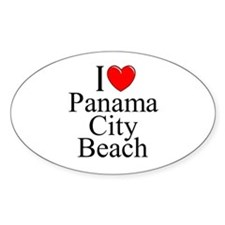 """I Love Panama City Beach"" Oval Decal"