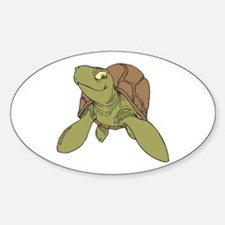 Grinning Sea Turtle Oval Decal
