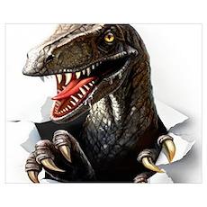 Velociraptor Dinosaur Wall Art Poster