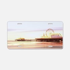 Santa Monica Pier Sunrise Aluminum License Plate