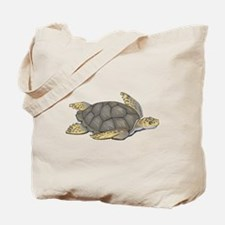 Brown Swimming Sea Turtle Tote Bag