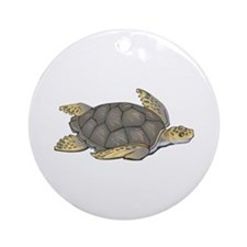 Brown Swimming Sea Turtle Ornament (Round)
