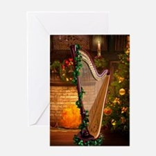 Christmas Harp Greeting Cards