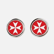 White Maltese Cross Round Cufflinks