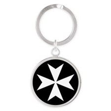 White Maltese Cross Keychains