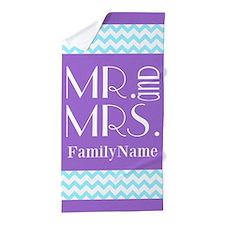 Personalized Mr. Mrs. Chevron Beach Towel