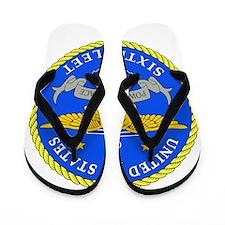 US Navy 6th Fleet Emblem Flip Flops