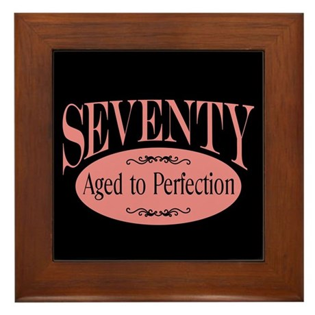70th aged to perfection Framed Tile