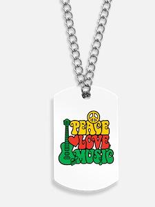 Reggae Peace Love Music Dog Tags