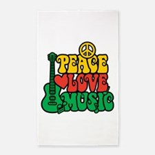 Reggae Peace Love Music 3'x5' Area Rug