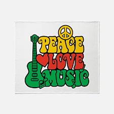 Reggae Peace Love Music Throw Blanket