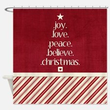 Christmas Word Tree Shower Curtain