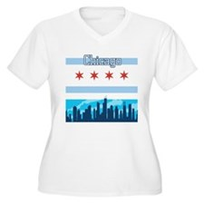 Chicago Flag City Skyline Plus Size T-Shirt