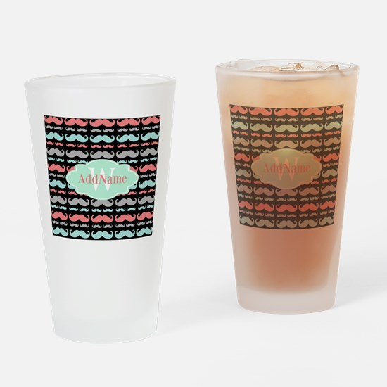 Monogram Funny Mustaches Pattern Drinking Glass